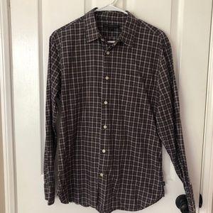 John Varvatos Long-sleeve plaid shirt.